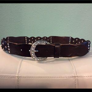 BKE Rhinestone Leather Belt. Size Med (40 inches)